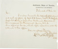 "Autographs:Military Figures, Confederate General Lucius Bellinger Northrop Letter Signed ""L B Northrop"". 7.75"" x 6.5""...."