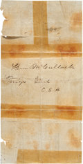 "Autographs:Military Figures, Confederate General Benjamin McCulloch Document Signed ""BenMcCulloch/ Brigr Genl/ C.S.A."". 7.75"" x 4""...."