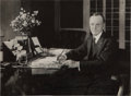 "Autographs:U.S. Presidents, Calvin Coolidge Signed and Inscribed Photograph, 8"" x 6"", a blackand white glossy portrait of Coolidge sitting at his desk...."