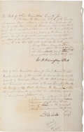 Autographs:U.S. Presidents, William Henry Harrison Partly Printed Document Signed as Clerk ofthe Court of Common Pleas. Two pages, penned on recto and ...