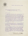 """Autographs:Military Figures, Francisco """"Pancho"""" Villa Typed Letter Signed as Commander of the Northern Revolutionary Army. One page, in Spanish, 8.5"""" x 1..."""