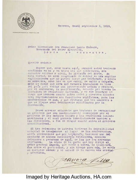 AutographsMilitary Figures Francisco Pancho Villa Typed Letter Signed As Commander Of