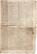 """Miscellaneous:Newspaper, The Gazetteer and New Daily Advertiser. Two pages, printedon recto and verso, 12.25"""" x 18.25"""", London, April 12..."""
