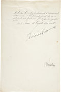 Autographs:Non-American, Document Signed by Benito Mussolini as Prime Minister and KingVictor Emmanuel III of Italy. One page, penned on recto and v...
