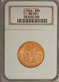 Indian Eagles: , 1912 $10 MS60 NGC. NGC Census: (114/3859). PCGS Population(109/2794). Mintage: 405,083. Numismedia Wsl. Price for problem ...