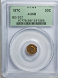 California Fractional Gold: , 1870 50C Liberty Octagonal 50 Cents, BG-921, Low R.5, AU58 PCGS.PCGS Population (7/24). NGC Census: (2/0). (#10779)...