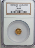 California Fractional Gold: , 1853 50C Liberty Round 50 Cents, BG-430, R.3, MS62 NGC. NGC Census:(9/8). PCGS Population (58/63). (#10466)...