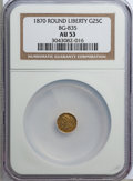 California Fractional Gold: , 1870 25C Liberty Round 25 Cents, BG-835, R.3, AU53 NGC. NGC Census:(2/38). PCGS Population (9/195). (#10696)...
