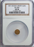 California Fractional Gold: , 1871 25C Liberty Round 25 Cents, BG-840, Low R.4, AU58 NGC. NGCCensus: (2/27). PCGS Population (12/92). (#10701)...