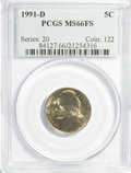 Jefferson Nickels: , 1991-D 5C MS66 Full Steps PCGS. PCGS Population (41/1). NGC Census:(10/3). (#84127)...