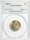 Jefferson Nickels: , 1952-S 5C MS65 Full Steps PCGS. PCGS Population (50/6). NGC Census:(4/2). (#84048)...