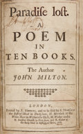 Books:First Editions, John Milton. Paradise Lost. A Poem in Ten Books.London: S. Simons, 1668.. First edition, Amory's No. 2 issue ...