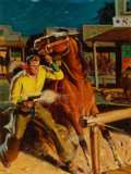 Pulp, Pulp-like, Digests, and Paperback Art, AMERICAN ARTIST (20th Century). Range Rider Western, pulp andpaperback cover, February 1945. Oil on board. 23.5 x 17.5 ...
