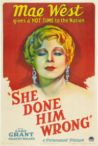 "She Done Him Wrong (Paramount, 1933). One Sheet (27"" X 41"") Style A"