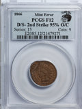 Errors, 1866 1C Indian Cent--Double Strike-2nd Strike 95% Off-Center--Fine 12 PCGS. Eagle Eye Photo Seal....