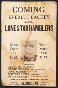 "Everett Lackey and the Lone Star Ramblers (Various, 1940s). Window Card (13"" X 20""). Western"