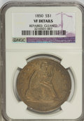 1850 $1 --Cleaned, Repaired--NCS. VF Details. NGC Census: (1/96). PCGS Population (1/144). Mintage: 7,500. Numismedia Ws...
