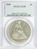 Seated Dollars: , 1849 $1 AU50 PCGS. PCGS Population (32/169). NGC Census: (14/167).Mintage: 62,600. Numismedia Wsl. Price for problem free ...