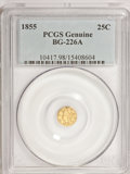 California Fractional Gold, 1855 25C Liberty Round 25 Cents, BG-226A, R.5,--Damage--PCGSGenuine. (#10417)...