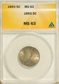 Liberty Nickels: , 1893 5C MS63 ANACS. NGC Census: (71/237). PCGS Population (121/282). Mintage: 13,370,195. Numismedia Wsl. Price for problem...
