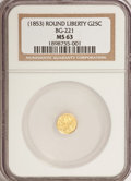 California Fractional Gold, (1853) 25C Liberty Round 25 Cents, BG-221, R.3, MS63 NGC. NGCCensus: (9/5). PCGS Population (54/43). (#10406)...