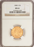 Liberty Half Eagles: , 1888-S $5 MS61 NGC. NGC Census: (33/21). PCGS Population (13/25).Mintage: 293,900. Numismedia Wsl. Price for problem free ...