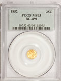 California Fractional Gold: , 1852 25C Indian Round 25 Cents, BG-891, Low R.5, MS63 PCGS. PCGSPopulation (9/23). NGC Census: (2/3). (#10752)...