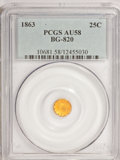 California Fractional Gold: , 1863 25C Liberty Round 25 Cents, BG-820, R.5, AU58 PCGS. PCGSPopulation (6/17). NGC Census: (1/3). (#10681)...