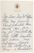 "Autographs:U.S. Presidents, Mamie Eisenhower Autograph Letter Signed as First Lady. Two pages,penned on recto and verso, 4.5"" x 7"", on gilt-embossed Wh..."