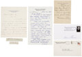 Autographs:Statesmen, Supreme Court Justice Collection. Small archive of letters,signatures, and notes from six Supreme Court justices. Lot inclu...