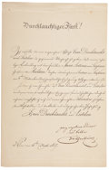 Autographs:Non-American, Prince Klemens Wenzel von Metternich Document Signed, partiallyprinted announcement of Metternich's marriage to Maria Anton...
