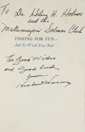 Autographs:U.S. Presidents, Herbert Hoover Book Signed and Inscribed. Fishing For Fun - Andto Wash Your Soul. New York: Random House, [1963]. First...