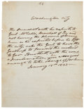 """Autographs:U.S. Presidents, Andrew Jackson Autograph Letter Signed in the Third Person withinthe text. One page, 7.5"""" x 10"""", """"Washington City"""", Jan..."""