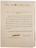 "Autographs:U.S. Presidents, James Monroe Presidential Command Signed ""Jas. Monroe"" asSecretary of State during the War of 1812. One page, 8..."
