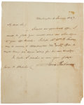"Autographs:U.S. Presidents, James Buchanan Autograph Letter Signed as President James Polk'ssecretary of state. One page, 8"" x 9.75"", January 4, 1847, ..."