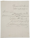 """Autographs:U.S. Presidents, Andrew Johnson Autograph Letter Signed. One page (lined), 4"""" x 5"""", March 4, 1872, Greenville, Tennessee. The letter, written..."""
