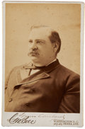 "Autographs:U.S. Presidents, Grover Cleveland Photograph Signed, 4.25"" x 6.5"". This sepiaportrait is boldly signed above the stamp of C. M. Bell of Wash..."