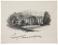 "Autographs:U.S. Presidents, Benjamin Harrison Signed White House Engraving, 4.75"" x 3.75"",n.p., dated Feb. 17, 1890 in an unknown hand on the verso. Ad..."