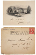 """Autographs:U.S. Presidents, Grover Cleveland Engraving Signed with envelope. Below the engraving of the White House (5"""" x 3.75""""), the president has sign... (Total: 2 Items)"""