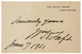 "Autographs:U.S. Presidents, William H. Taft Signature and Sentiment on a White House Card. 4.25"" x 2.75"", dated ""June 7. 1911"" in Taft's hand. Evenl..."