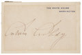 "Autographs:U.S. Presidents, Calvin Coolidge Signed White House Card 4.25"" x 2.75"", n.d., n.p.Light mat burn at all edges, few spots of mounting remnant..."