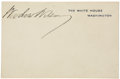 "Autographs:U.S. Presidents, Woodrow Wilson White House Card Signed. Imprinted ""The WhiteHouse, Washington"" in blue ink on heavy cardstock, 4"" x 2.7..."