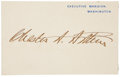 """Autographs:U.S. Presidents, Chester A. Arthur Executive Mansion Card Signed as President.Imprinted """"Executive Mansion, Washington"""" in blue ink onh..."""