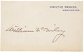 "Autographs:U.S. Presidents, William McKinley Executive Mansion Card Signed. Imprinted ""Executive Mansion, Washington"" in blue ink on heavy cardstock..."