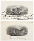 Autographs:U.S. Presidents, President Warren G. Harding and Florence Kling Harding SignedEngravings of the White House. Two different engraved images o...