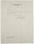 "Autographs:U.S. Presidents, William Howard Taft Letter Signed as Chief Justice of the SupremeCourt ""Wm H Taft""...."