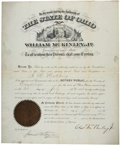 "Autographs:U.S. Presidents, William McKinley Commission Document Signed as Governor of Ohio""Wm Mckinley Jr""...."