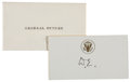 """Autographs:U.S. Presidents, Dwight D. Eisenhower Card to His Personal Physician General HowardMcCrum Snyder Signed as President """"D.E.""""...."""