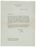 "Autographs:U.S. Presidents, Dwight D. Eisenhower Typed Letter Signed as President ""D.E.""...."
