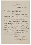 "Autographs:Statesmen, Chief Justice Melville Weston Fuller Autograph Letter Signed ""M.W. Fuller""...."